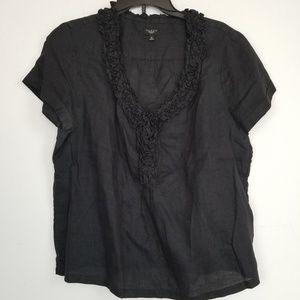 Talbots Petite black ruffled linen blouse 16P